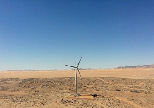 After a test phase, a 44 megawatt wind park will be constructed near Luederitz. Photo by: French embassy, Windhoek